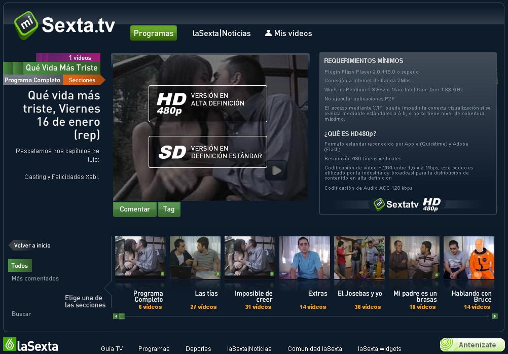 Qué vida más triste en LaSexta.tv